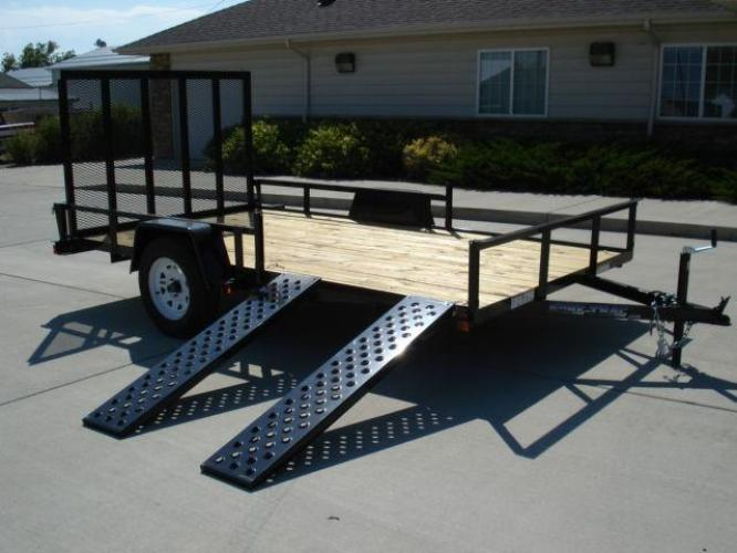 2021 Black SureTrac 7 X 12 ATV Trailer , located at 80 Big Timber Loop Road, Big Timber, MT, 59011, (406) 860-8510, 45.837139, -109.951393 - Photo #1