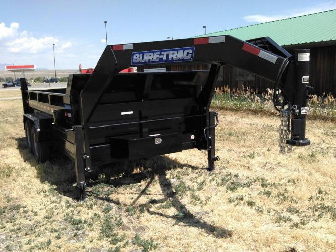 2021 Black SureTrac 7 x 14 GN LoPro Dump , located at 80 Big Timber Loop Road, Big Timber, MT, 59011, (406) 860-8510, 45.837139, -109.951393 - Photo #2