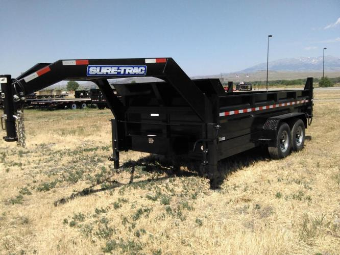 2021 Black SureTrac 7 x 14 GN LoPro Dump , located at 80 Big Timber Loop Road, Big Timber, MT, 59011, (406) 860-8510, 45.837139, -109.951393 - Photo #3